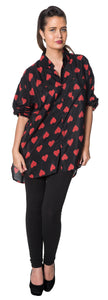 Dead Threads - Women's Red Heart Print Full Sleeve Shirt