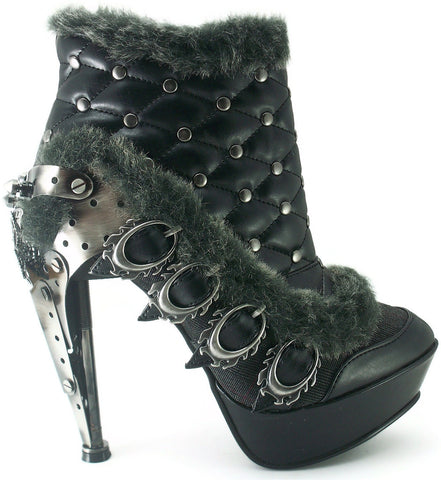 Hades Shoes - Agnes Black Steampunk Platform Booties