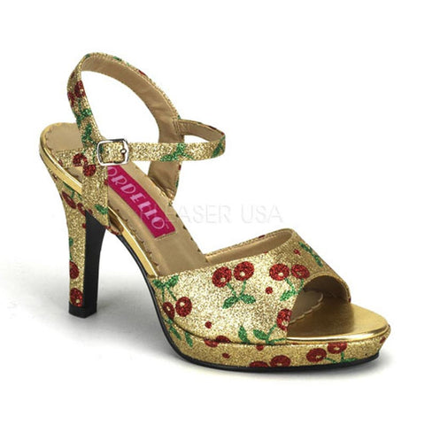 Bordello - Amuse-05G Gold Mini Glitter (Cherries) Ankle Strap Sandal
