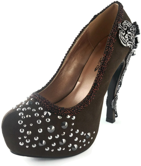 Hades Shoes - Amina Brown Steampunk Platforms - Egg n Chips London