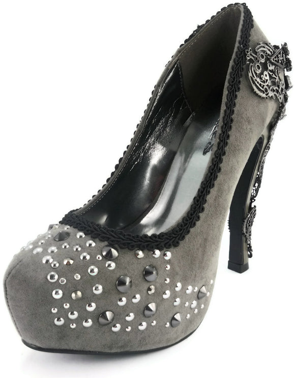 Hades Shoes - Amina Pewter Women's Platforms - Egg n Chips London