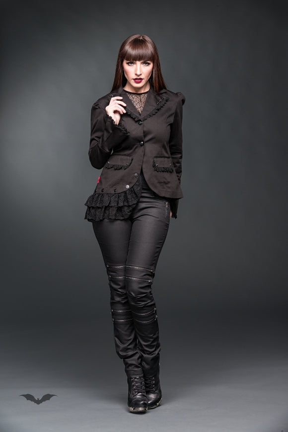 Queen of Darkness - Asymmetrical jacket decorated with lace