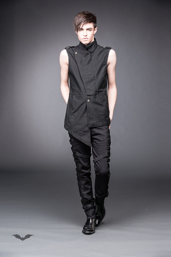 Queen of Darkness - Asymmetrical vest with band collar