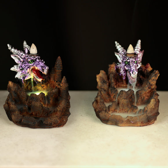 Fantasy LED Backflow Incense Burner - Purple Dragon BACK02