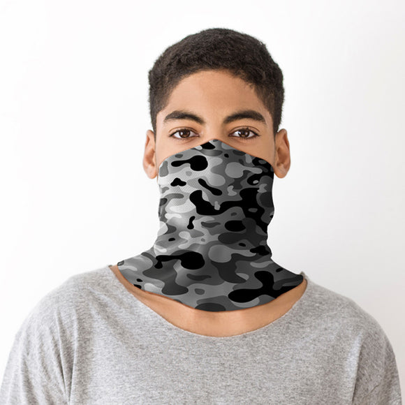 Grey Camouflage Neck Scarf Face Covering BAND17