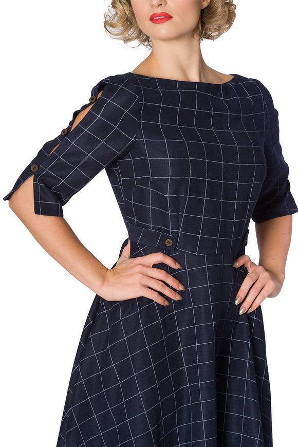 Banned Apparel - Women's Cheeky Check Fit And Flare Dress