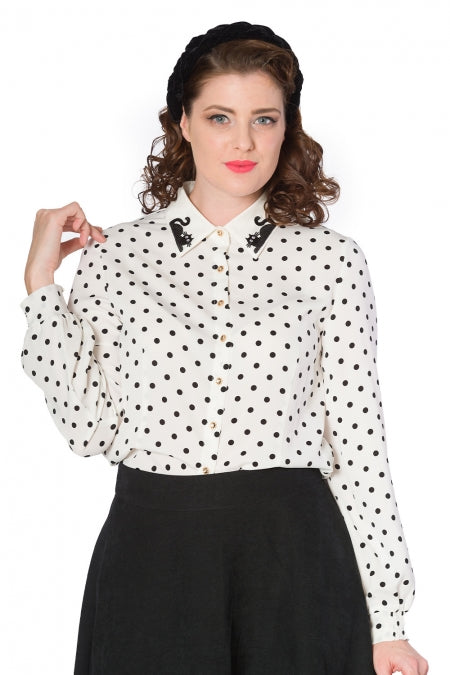 Banned Clothing - Women's Collar Cat Blouse