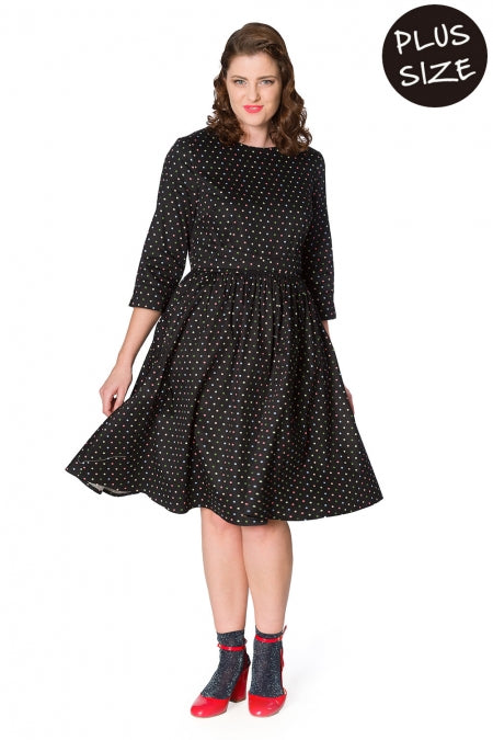Banned Clothing - Women's Black Spot Dress Plus Size