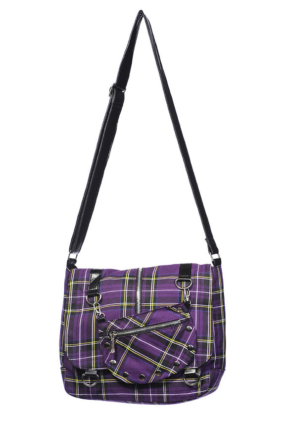 Banned Clothing - Purple Tartan Messenger Bag - Egg n Chips London