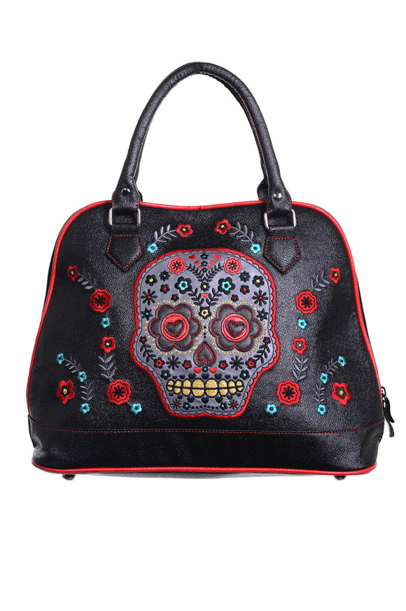 Banned Clothing - Purple Sugar Skull Handbag - Egg n Chips London