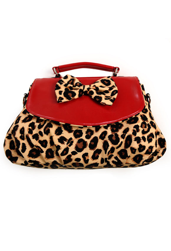 Banned Clothing - Red Leopard Shoulder Bag - Egg n Chips London