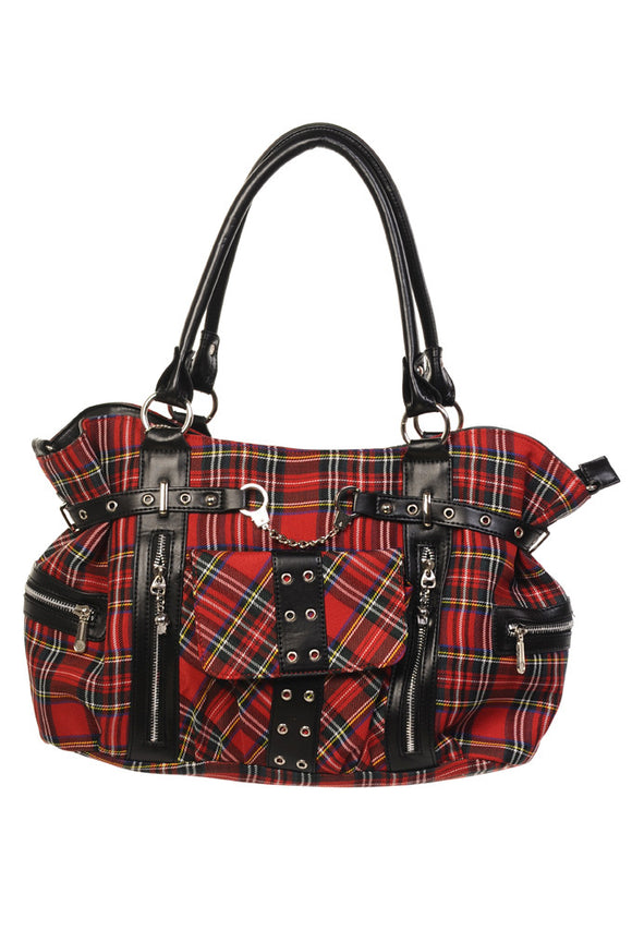 Banned Clothing - Red Tartan Handcuff Handbag - Egg n Chips London