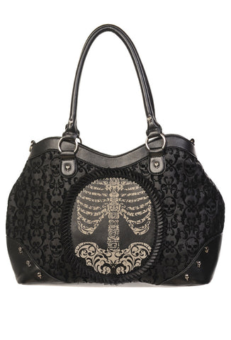 Banned Clothing - Black Flocked Cameo Skeleton Handbag