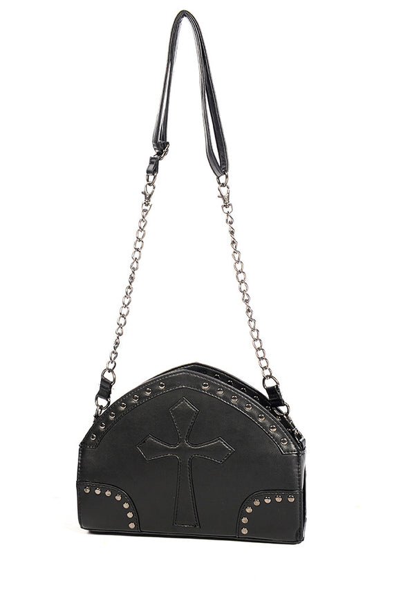Banned Clothing - Black Cross Shoulder Bag - Egg n Chips London