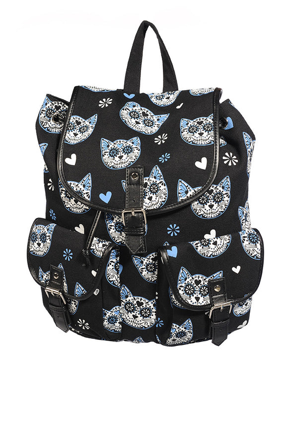 Banned Clothing - Blue Kitty Backpack - Egg n Chips London