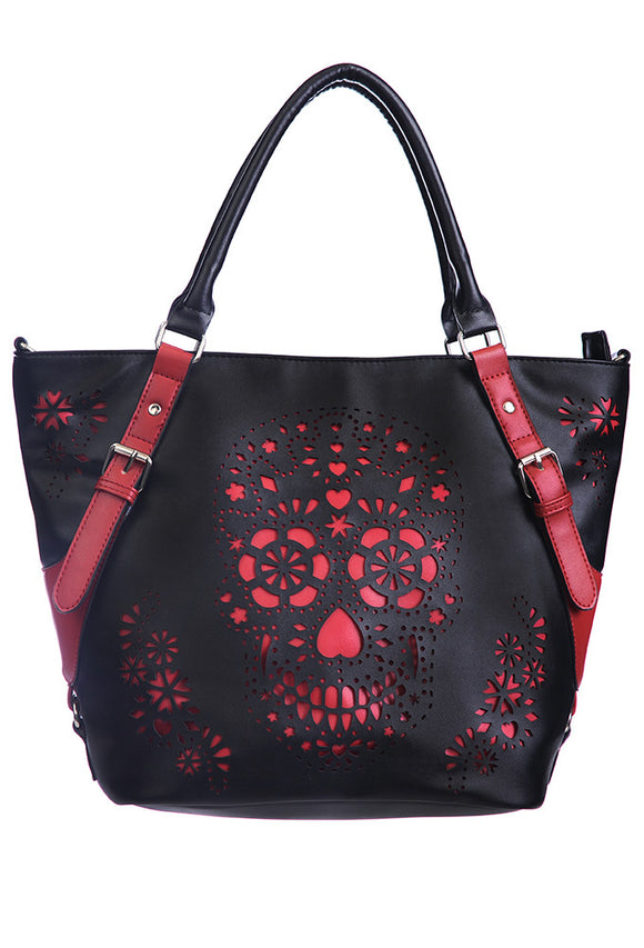 Banned Clothing - Black Red Cute Skull Shoulder Bag - Egg n Chips London