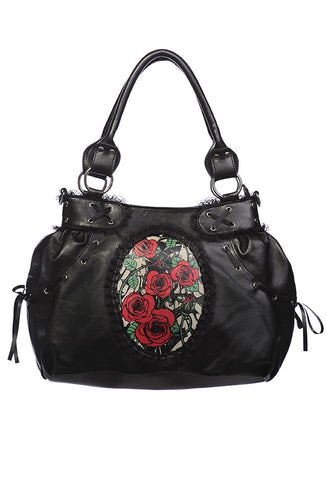 Banned Clothing - Roses Cameo Black Shoulder Bag