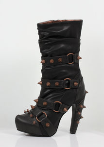 Hades Shoes - Bjorn Black Studded Boots - Egg n Chips London