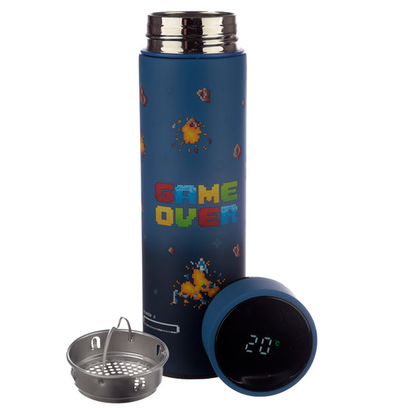 Game Over Stainless Steel Digital Thermometer Insulated Drinks Bottle BOT82