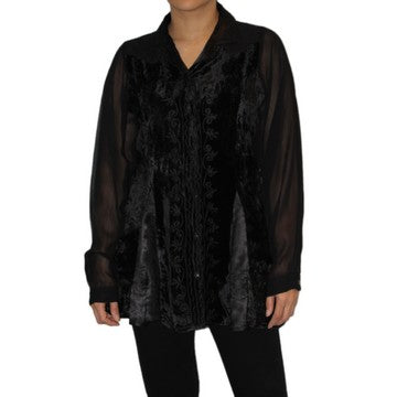 Dead Threads - Women's Black Velvet and Collared Satin Blouse