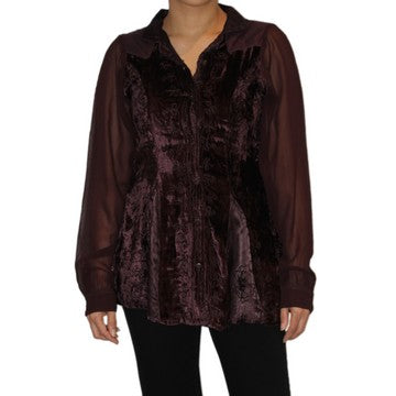 Dead Threads - Women's Black Velvet and Satin Collared Blouse