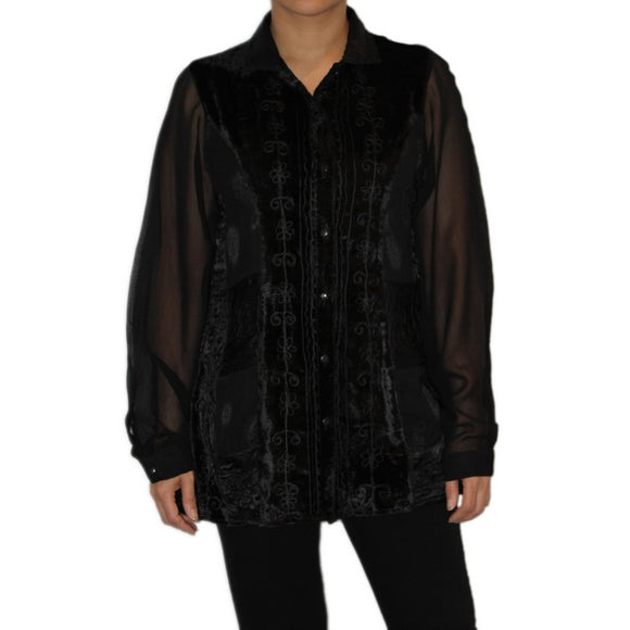 Dead Threads - Women's Black Velvet and Satin Jacquard Blouse