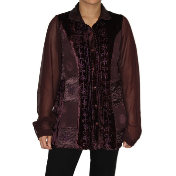 Dead Threads - Women's Purple Velvet and Satin Jacquard Blouse