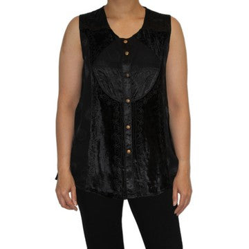 Dead Threads - Women's Velvet and Satin Jacquard Scoop Neck Blouse