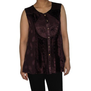 Dead Threads - Women's Purple Velvet and Satin Jacquard Scoop Neck Blouse