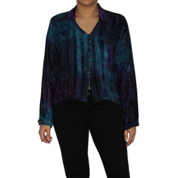 Dead Threads - Women's Blue Tie and Dyed Velvet Collared Blouse
