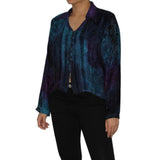 Dead Threads - Women's Blue Velvet Collared Tie Dyed Blouse