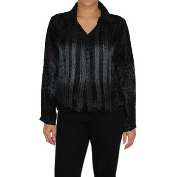 Dead Threads - Women's Black Tie and Dyed Velvet Collared Blouse