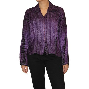 Dead Threads - Women's Purple Tie and Dyed Velvet Collared Blouse