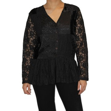 Dead Threads - Women's Velvet and Satin Jacquard V-neck Blouse