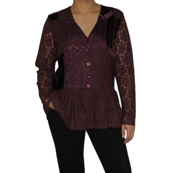 Dead Threads - Women's Purple Velvet and Satin Jacquard V-neck Long Sleeve Blouse