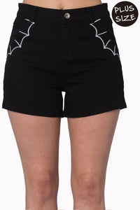 Banned Apparel - Bell Tower Bat Shorts Plus Size - Egg n Chips London