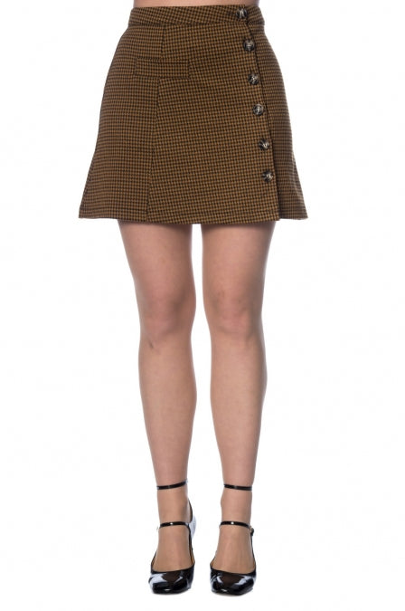 Banned Apparel - Bella Check A-Symetric Skirt