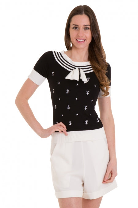 Banned Apparel - Black Set Sail Knit Top - Egg n Chips London