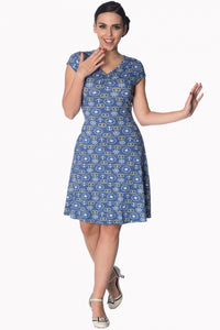Banned Apparel - Blue Drop Anchor Dress - Egg n Chips London