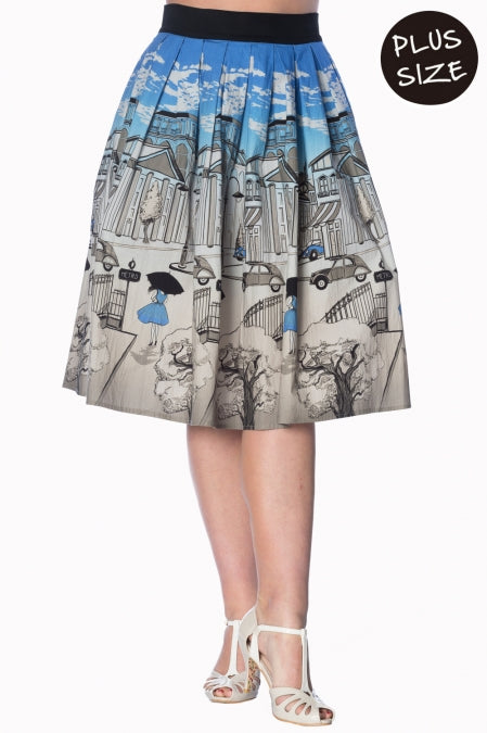 Banned Apparel - Blue Paris 50s Skirt Plus Size - Egg n Chips London