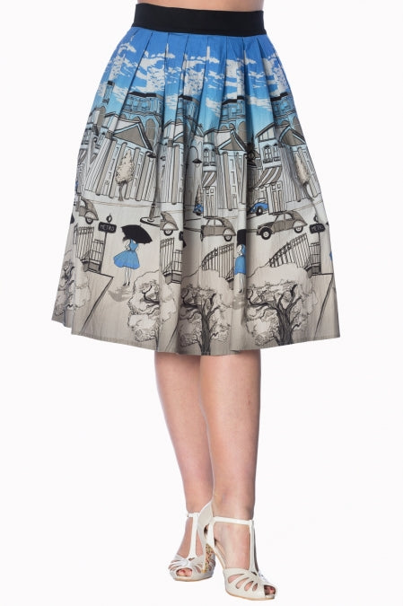 Banned Apparel - Blue Paris 50s Skirt - Egg n Chips London