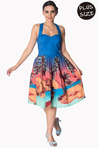 Banned Apparel - Blue Tropical Strappy Dress Plus Size - Egg n Chips London