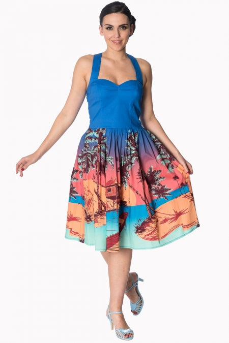 Banned Apparel - Blue Tropical Strappy Dress - Egg n Chips London