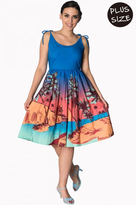 Banned Apparel - Blue Tropical Sundress Plus Size - Egg n Chips London