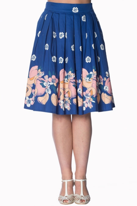Banned Apparel - Blue Tutti Fruity 50s Skirt - Egg n Chips London