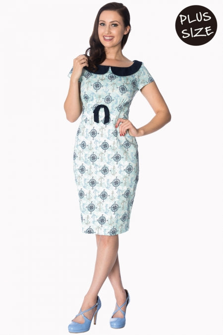 Banned Apparel - Compass Wiggle Light Blue Dress Plus Size - Egg n Chips London