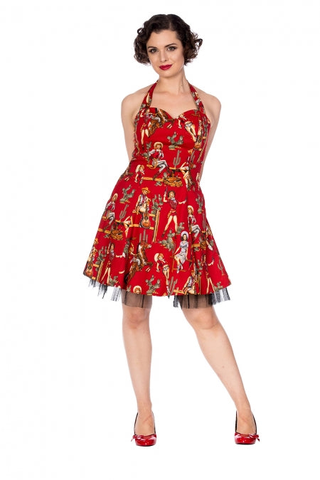 Banned Apparel - Cowgirl Red Halter Flare Dress Red