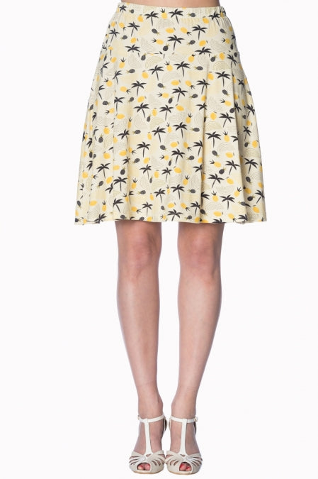 Banned Apparel - Cream Palm Shade Skirt