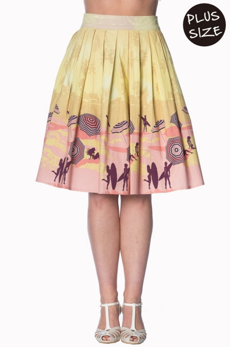 Banned Apparel - Cream Parasol 50s Skirt Plus Size