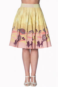 Banned Apparel - Cream Parasol 50s Skirt